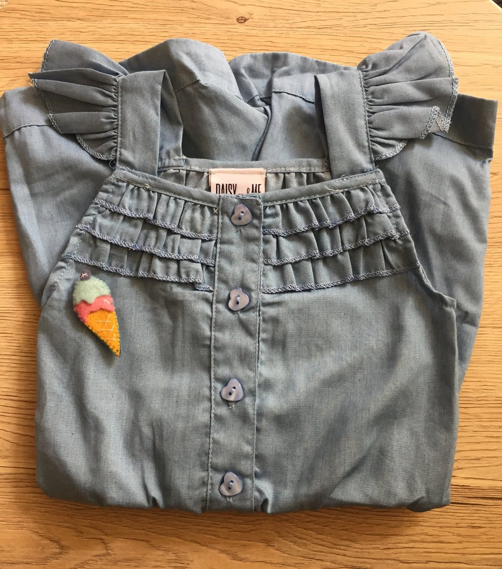 Image of Denim romper with handmade icecream broach