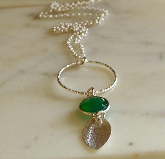 Image of Extra Long Green Onyx Bezel Pendent
