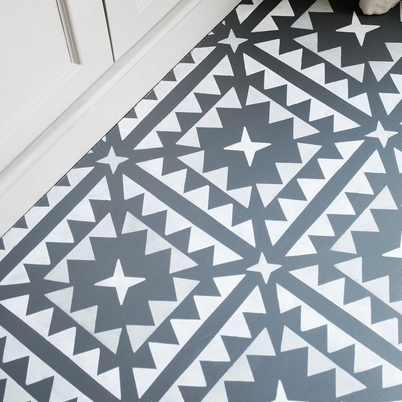 Image Of Large Hammam Floor Stencil