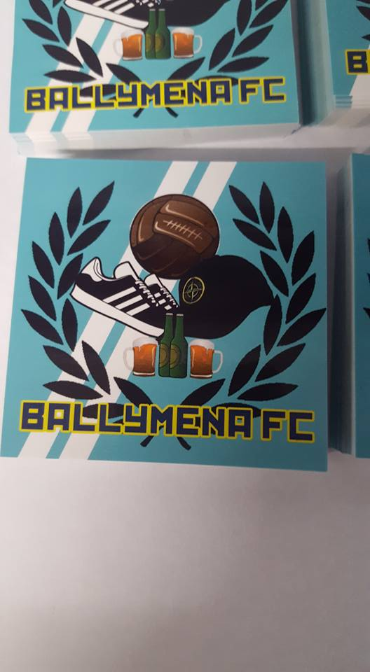 Image of Ballymena United  Football & Fashion New Pack of 25 7x7cm Ultras Stickers.