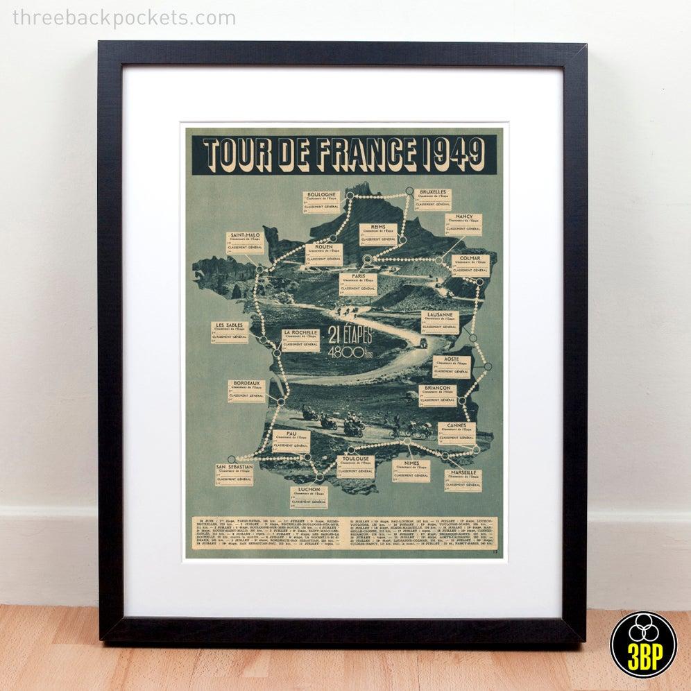 Image of Tour de France 1949 grand tour cycling route map photographic print