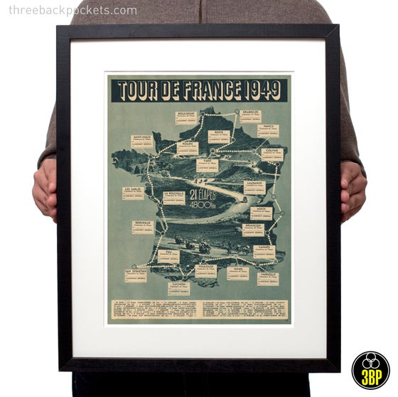 Image of Tour de France 1949 grand tour cycling route map photographic print