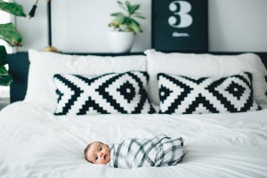 Image of Organic cotton muslin hand painted Grid swaddle blanket