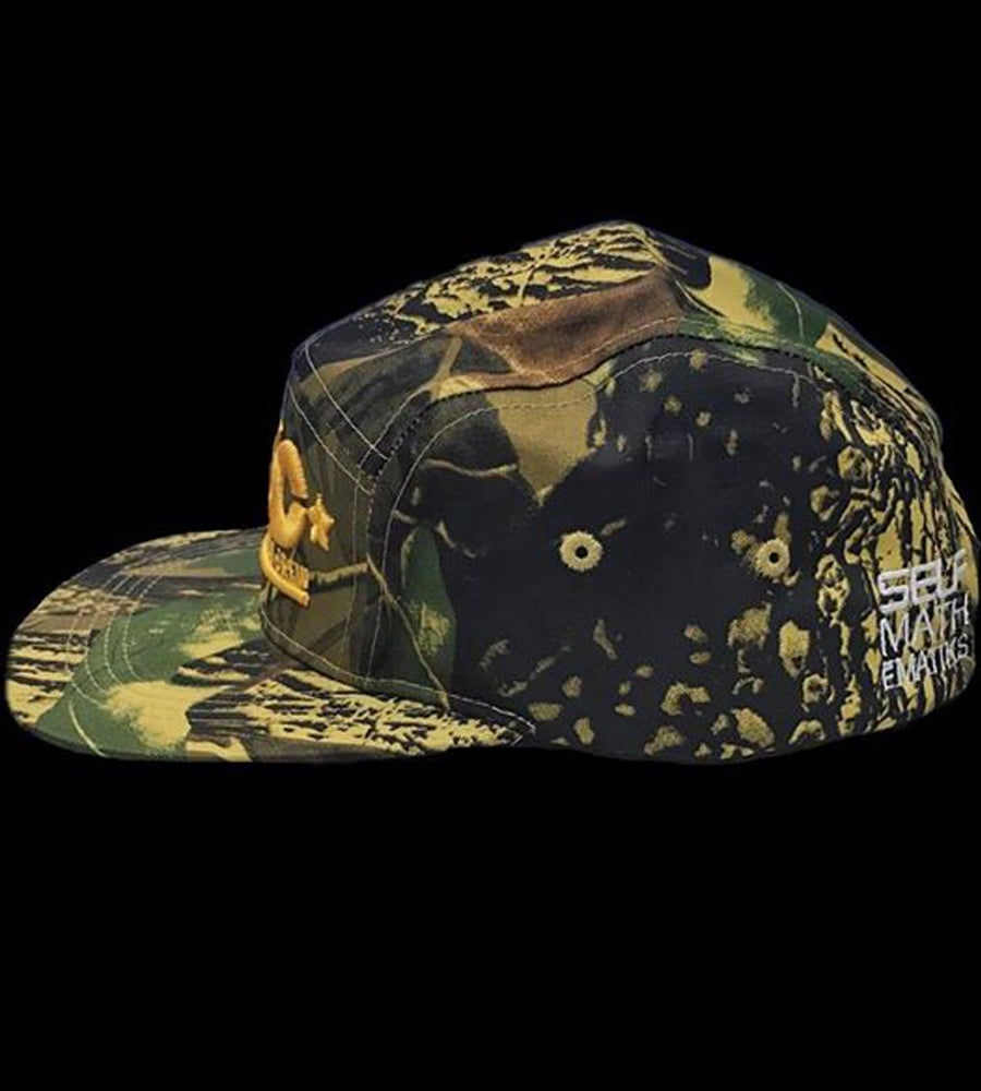 "Image of ""HUNTERS CAMO"" 5 PANEL, GENUINE LEATHER STRAP BACK ""THINKIN' CAP"""