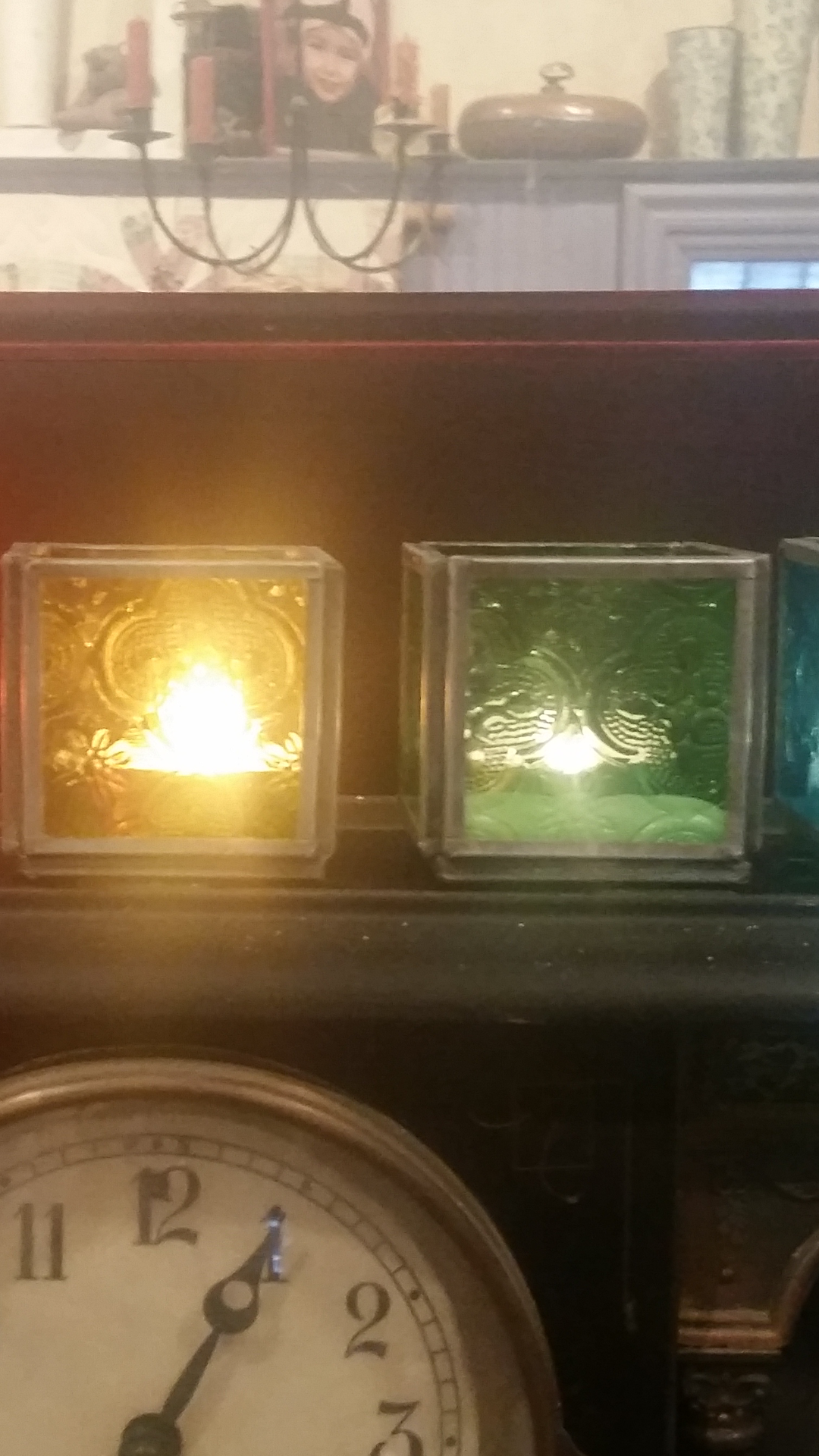 Image of Small Candle Holder Set(5)-colored glass