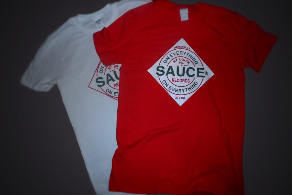 Image of WHITE Tobasco label SAUCE Tee