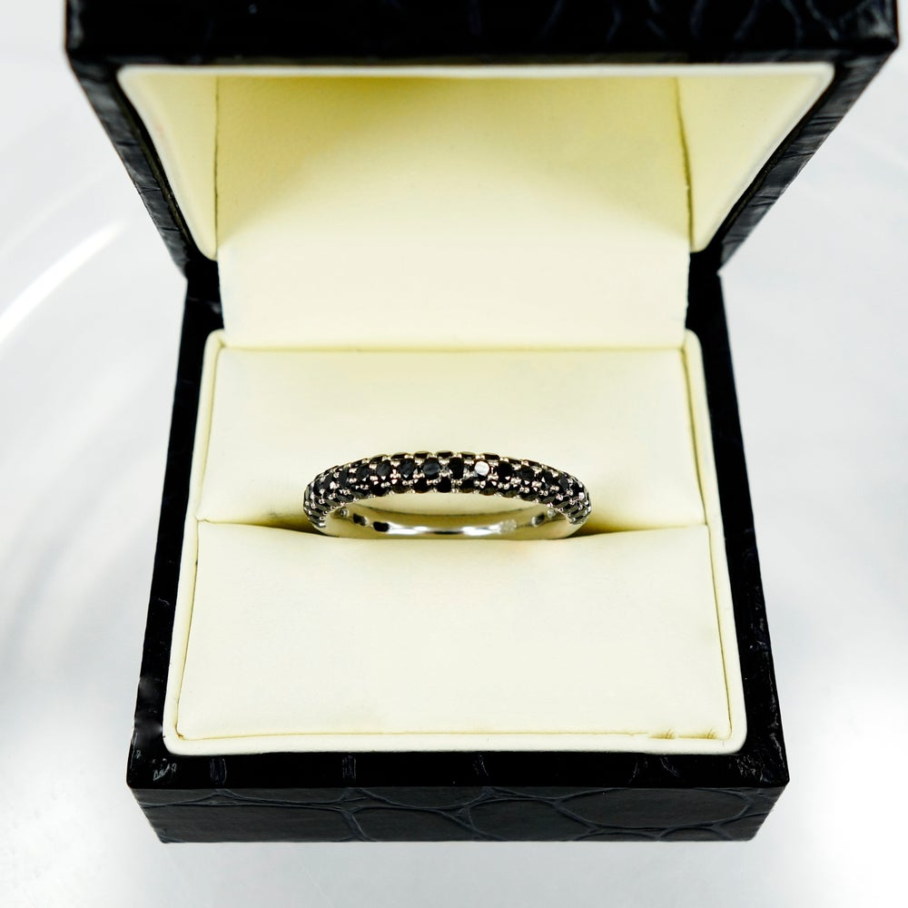 Image of 14ct white gold and black diamond eternity ring