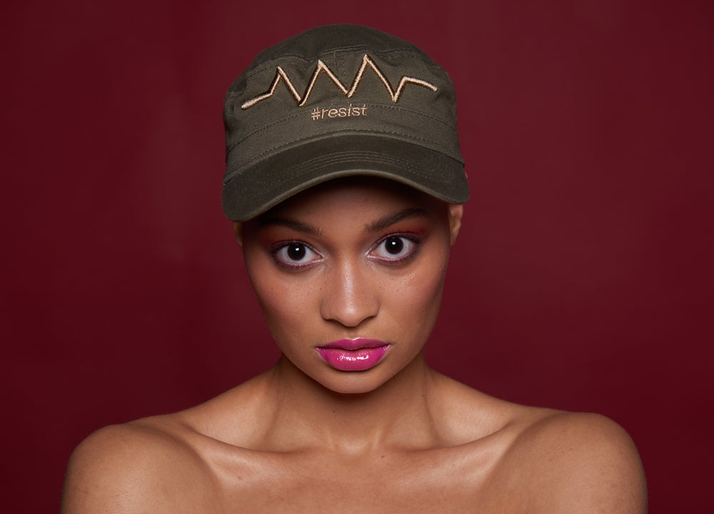 Image of Resist symbol 3D puff embroidery Cadet-style cap