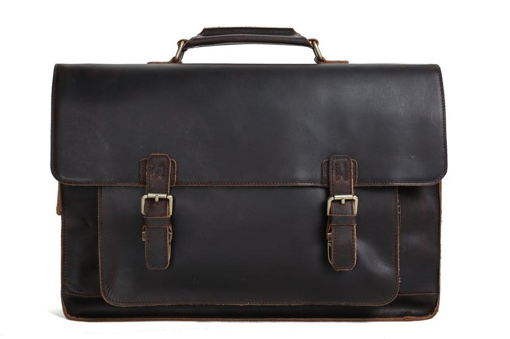 Image of 17'' Handmade Leather Laptop Bag, Man Leather Briefcase, Messenger Bag, Handbag 7205L