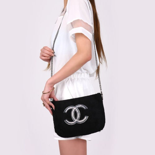 Image of SUPER SALE Chanel Beaute Cosmetic Bag - Chanel Precision VIP Counter Gift Velour Chain Bag