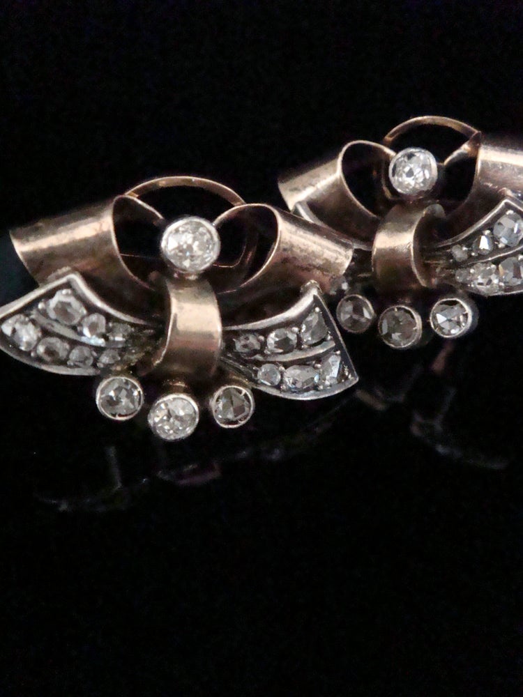 Image of Retro yellow gold rose cut and old cut diamond earrings