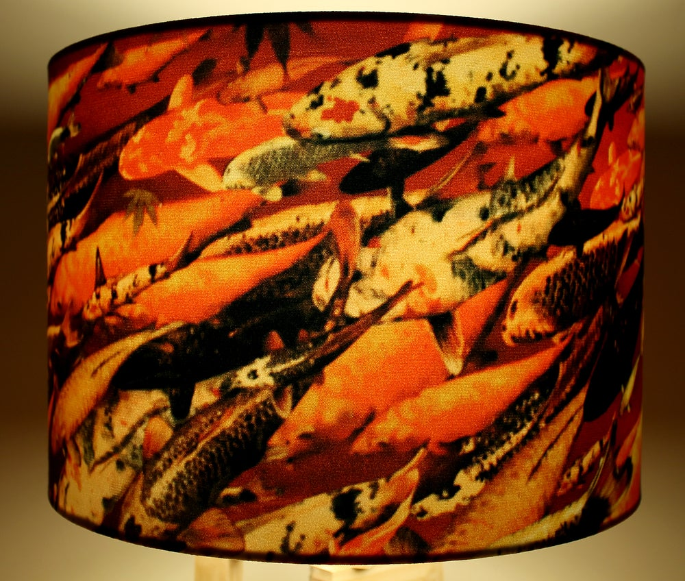 Image of 'Koi on Crimson' Drum Lampshade by Lily Greenwood
