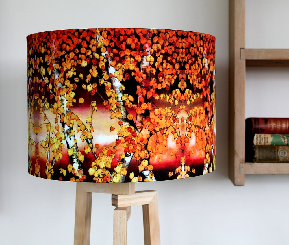 Image of 'Autumn Birch' Drum Lampshade by Lily Greenwood