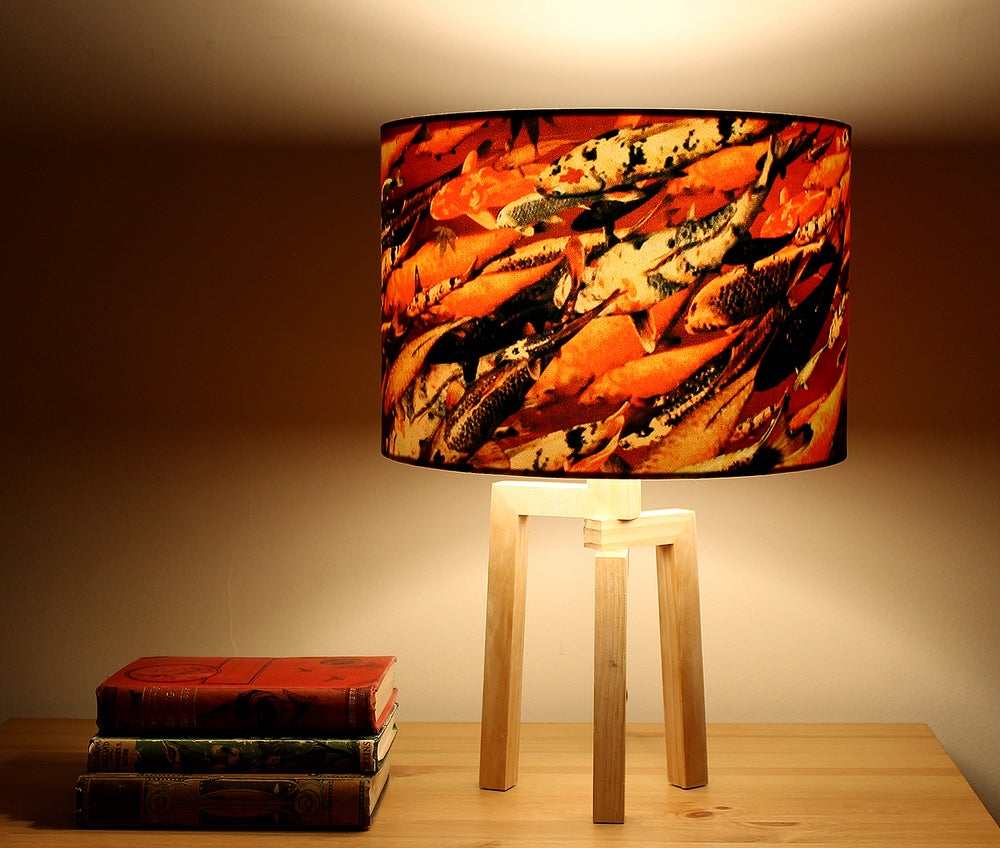 Image of 'Koi on Crimson' Drum Lampshade by Lily Greenwood (30cm, Table Lamp or Ceiling)