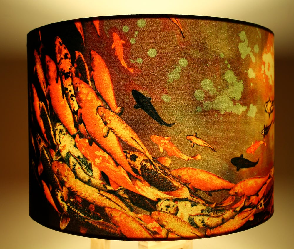Image of 'Koi on Violet and Olive' Drum Lampshade by Lily Greenwood