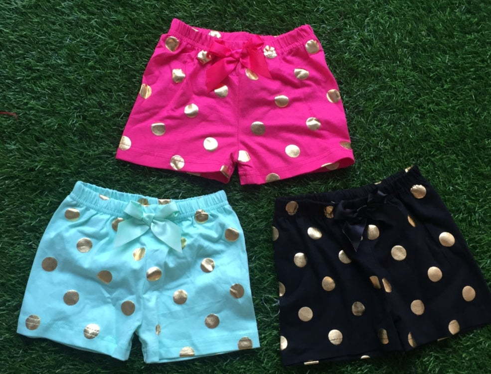 Image of Gold Dot shorts in black, fuschia and aqua, summer, comfy, sisters
