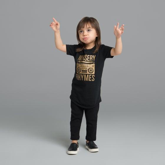 """Image of """"Nursery Rhymes"""" Black T-Shirt"""