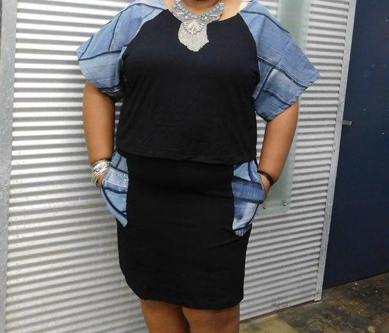 Image of Mini skirt with denim patchwork trim