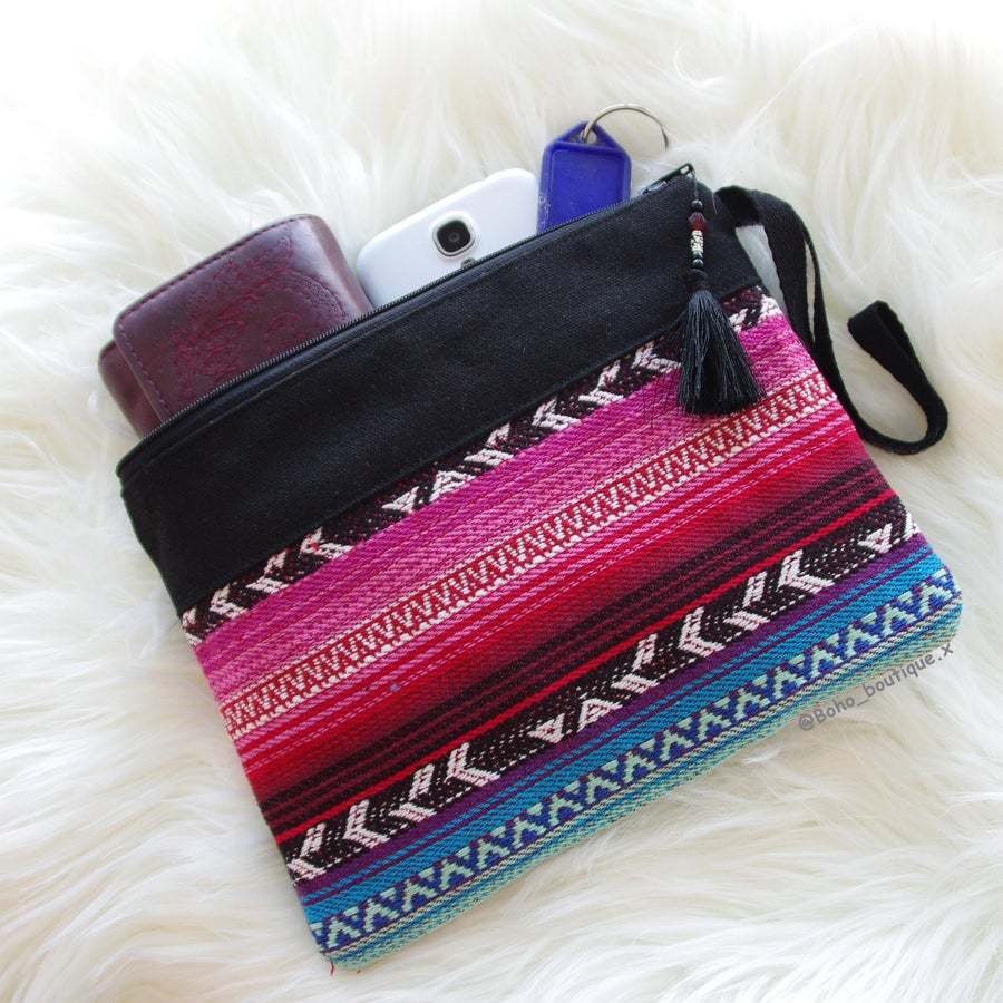 Image of Pre-order Medium Pink and Blue Clutch