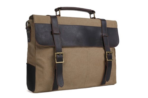 Image of Handmade Canvas Leather Bag Briefcase Messenger Bag Shoulder Bag Laptop Bag 1870