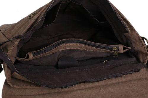 Image of 14'' Canvas Leather Bag Briefcase Messenger Bag Shoulder Bag Laptop Bag 1870