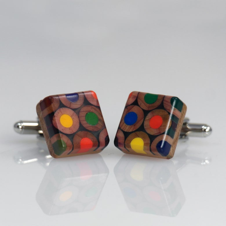 Image of square pencil cufflinks