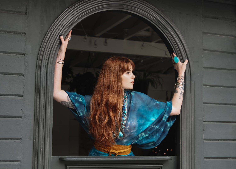 Image of Aquamarine Silk Kimono/Cape