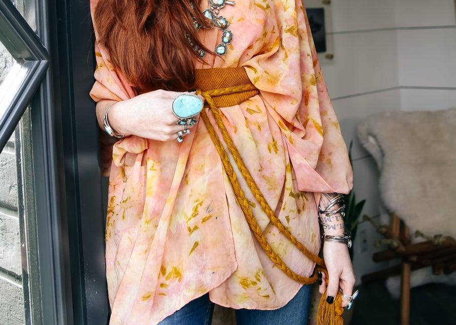 Image of Silk Kimono Cape with Belt (Cochineal)