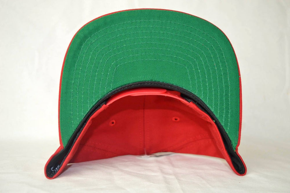 Image of CROOKS & CASTLE MENS RED WOVEN ARCH CROOKS SNAPBACK
