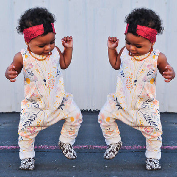 Image of Floral Print Sleeveless Romper