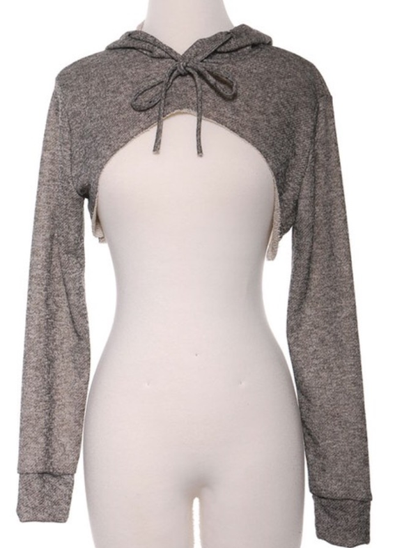 Image of Gray cropped hoodie