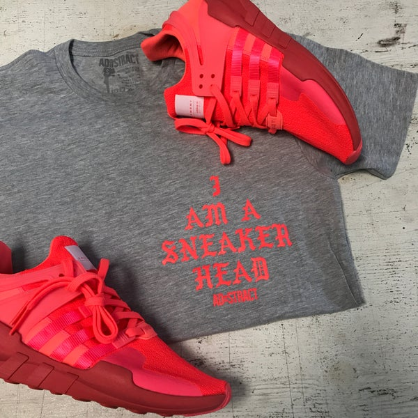 """Image of I AM A SNEAKERHEAD """"SOLAR RED/GREY"""" T-SHIRT"""