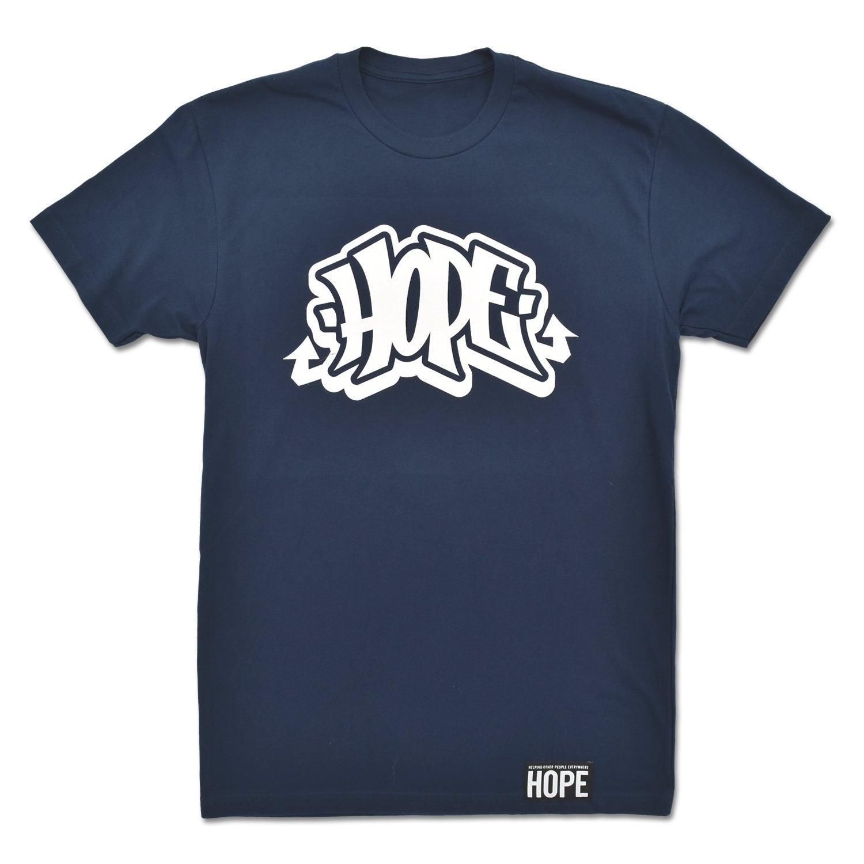 Image of HOPE Graffiti Logo Tee in Navy