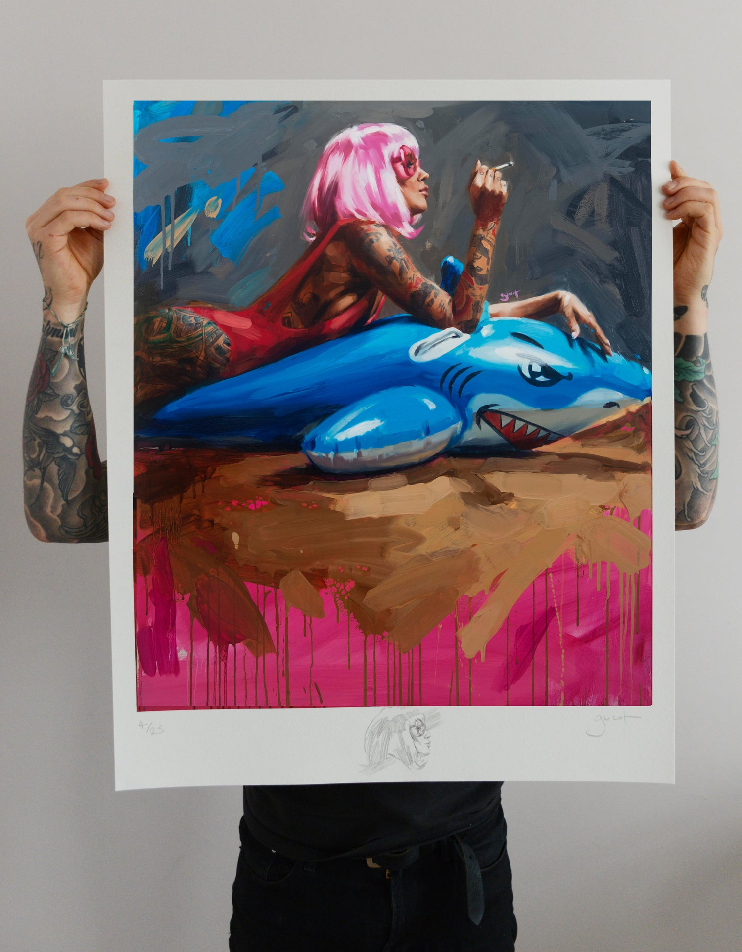 Image of Extremely Limited Special Editon 'SHARK II' Giclee Print with Original Drawing