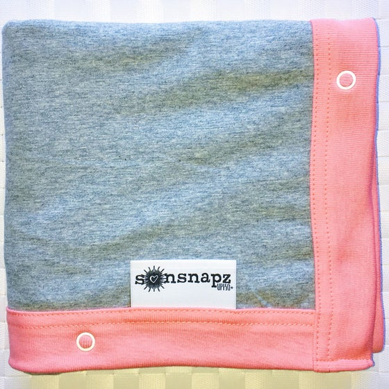 "Image of Sunsnapz Baby Blanket ""GREY/CORAL"""