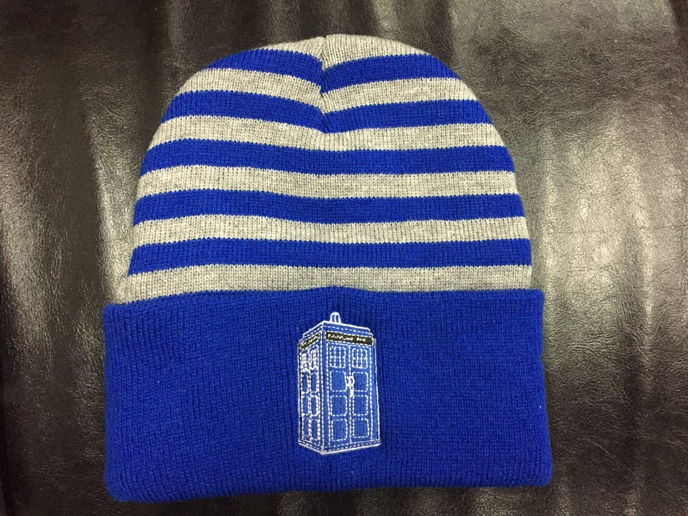 Image of Police Box embroidered striped knit beanie