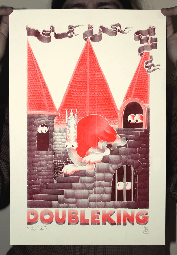 Image of DOUBLE KING Limited Edition Signed A3 Risograph Print (BURGUNDY)