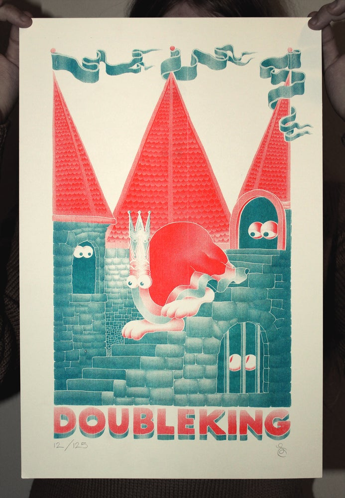 Image of DOUBLE KING Limited Edition Signed A3 Risograph Print (TEAL)
