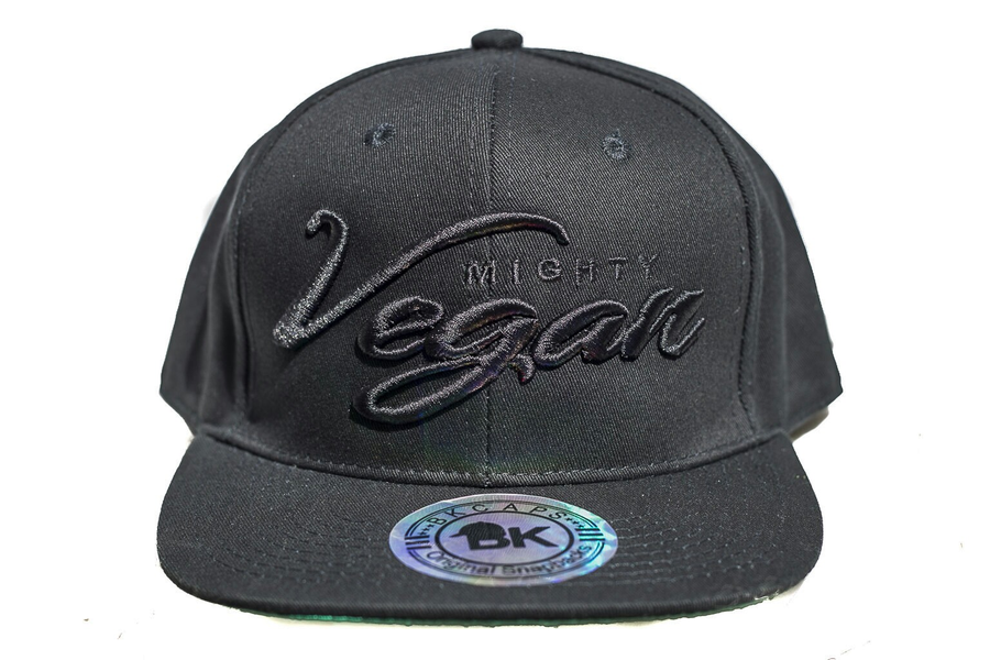 Image of MVA BLACK CURSIVE 3D EMBROIDERY on BLACK SNAPBACK HAT