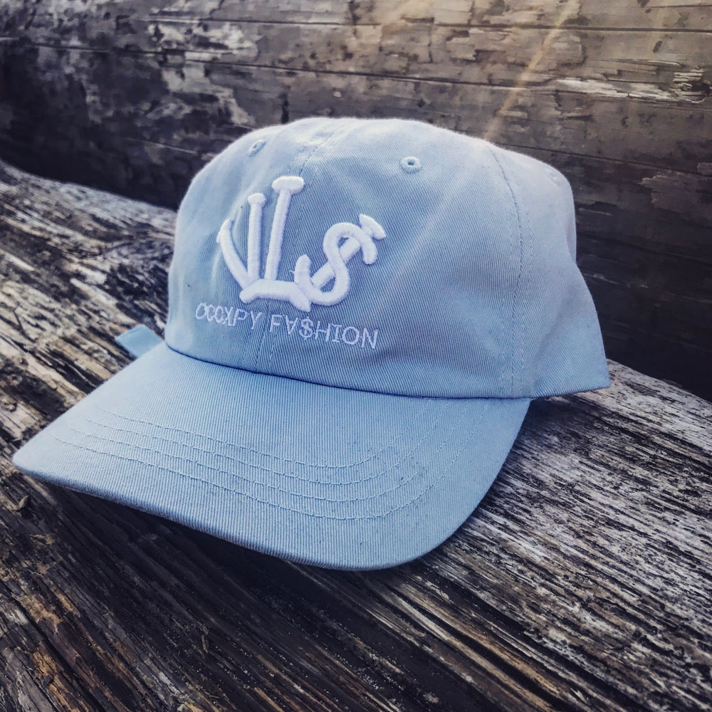 """Image of Baby Blue/ White """"VL$"""" OCCPY FXSHION Dad Hat"""