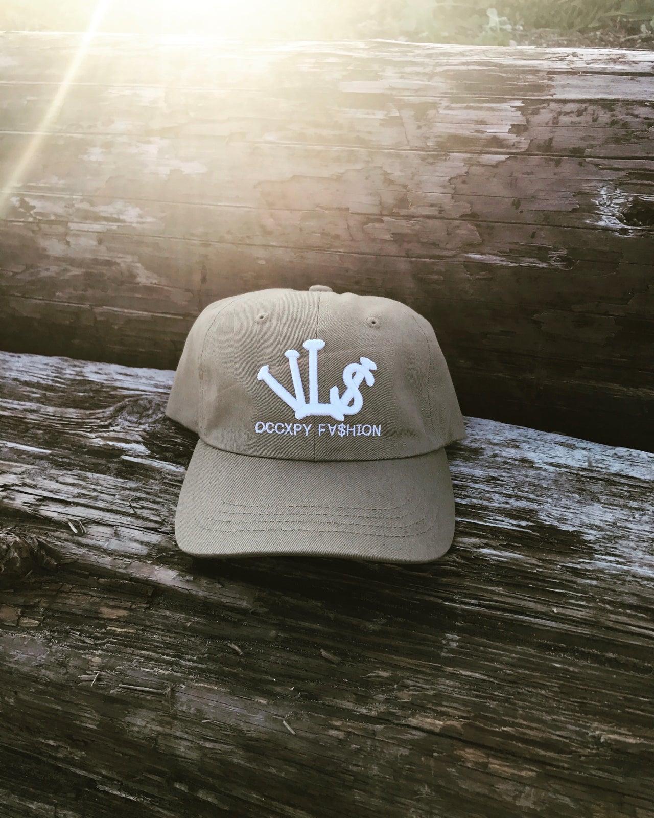 "Image of Khaki/White ""VL$"" OCCXPY FXSHION Dad Hat"