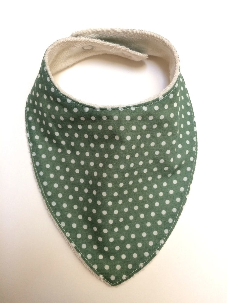 Image of Bavoir bandana   Vert & pois blanc