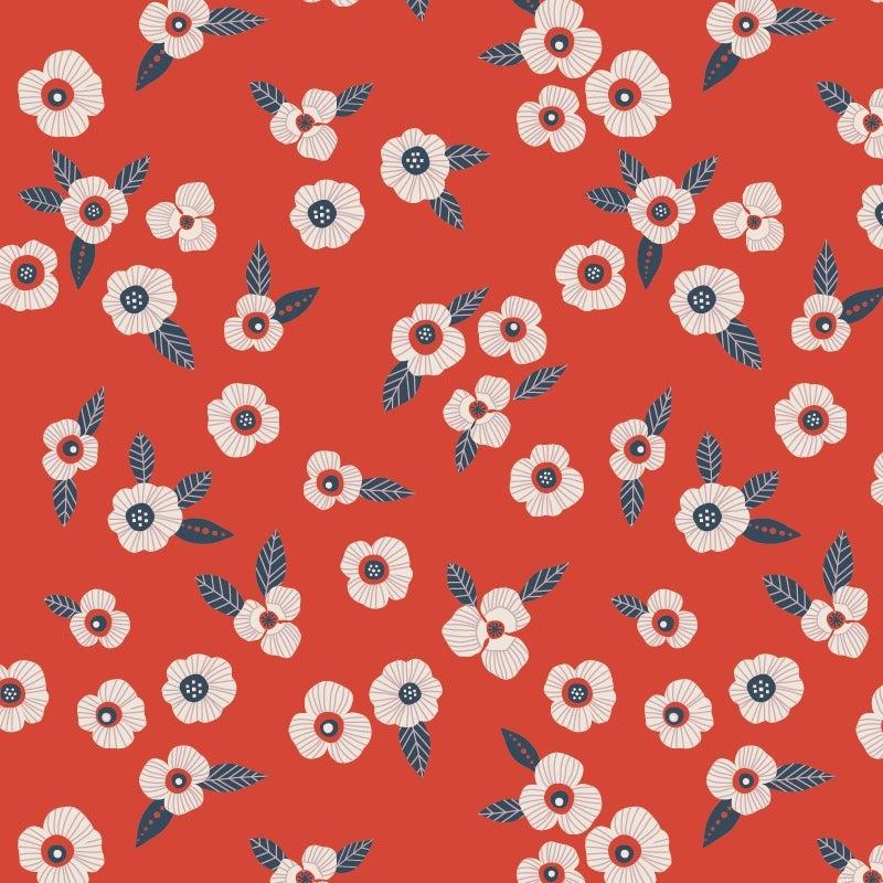 Image of Bavoir élastique | Fleurs | Bleu marine & rouge