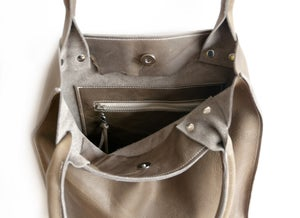 Image of Olive Gray Leather Tote - Wax Finished Leather Shopper - Cool Leather Tote Bag