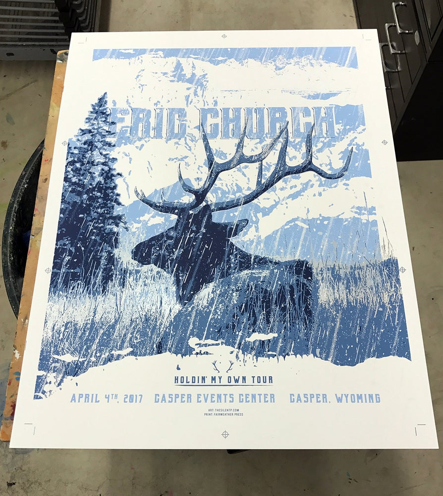 "Image of Eric Church ""Elk in Snow"" Poster"