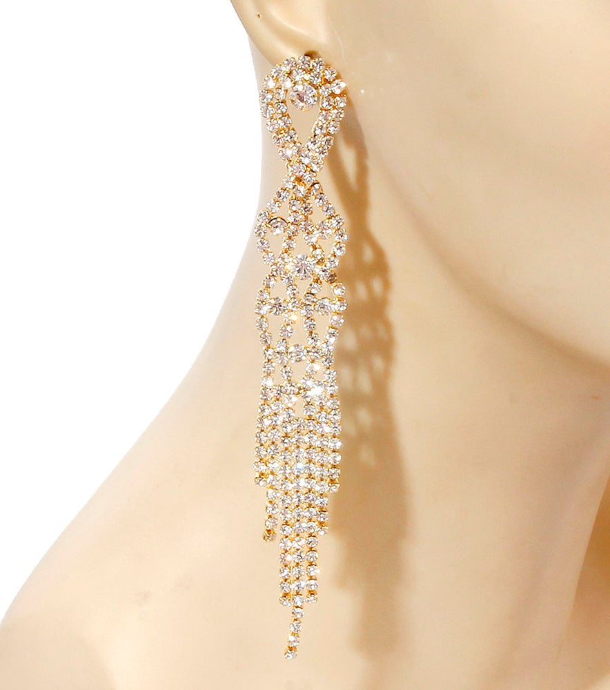 Image of Gold Stoned Drop Earrings
