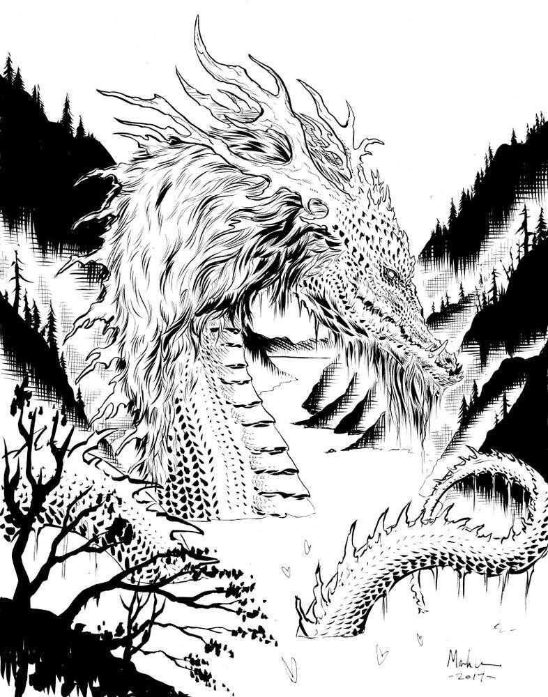Image of lake dragon original inked art