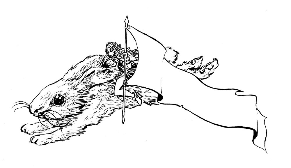 Image of bunny topless elf inked art piece