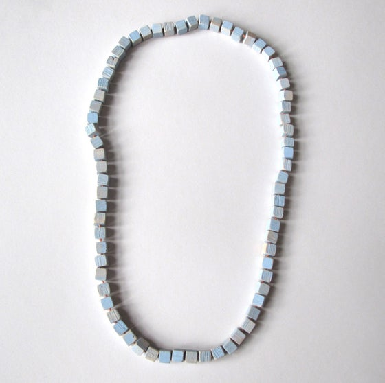 Image of Ridged Cubes Necklace, Blue
