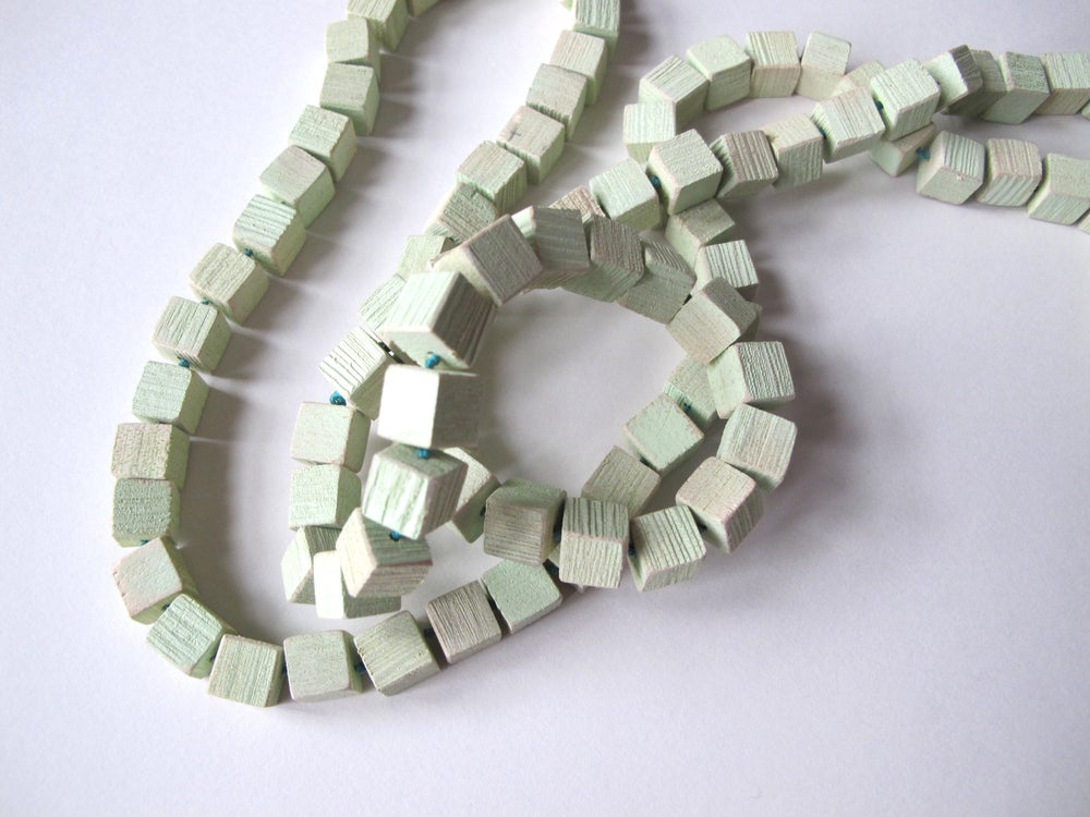 Image of Ridged Cubes Necklace, mint green